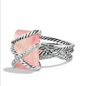 DAVID YURMAN,Cable Wrap & Rose Quartz,Diamond Ring